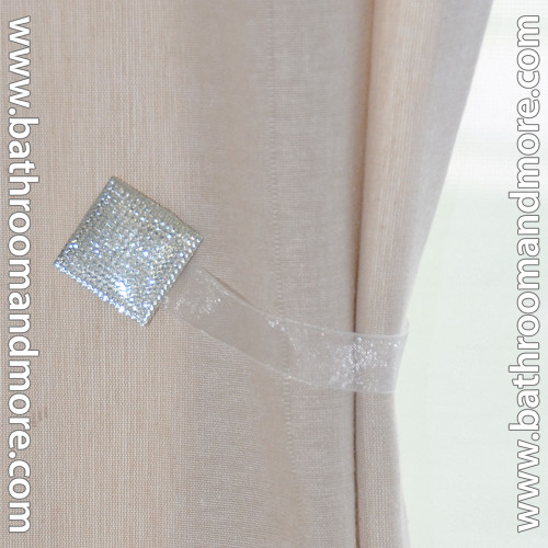 White Square 2 Pc Crystal Magnetic Window Curtain Drapery Tie Back Clips HardwareMount Free