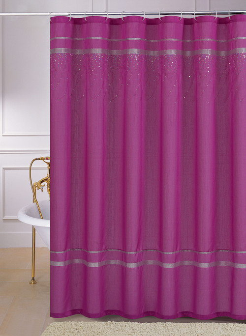 Pink Faux Silk Fabric Shower Curtain Silver Ribbon Cascading Hologram Sequins Bathroom And More