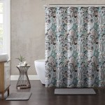 Paisley Print Fabric Shower Curtain Teal Black Taupe White 72 X 72