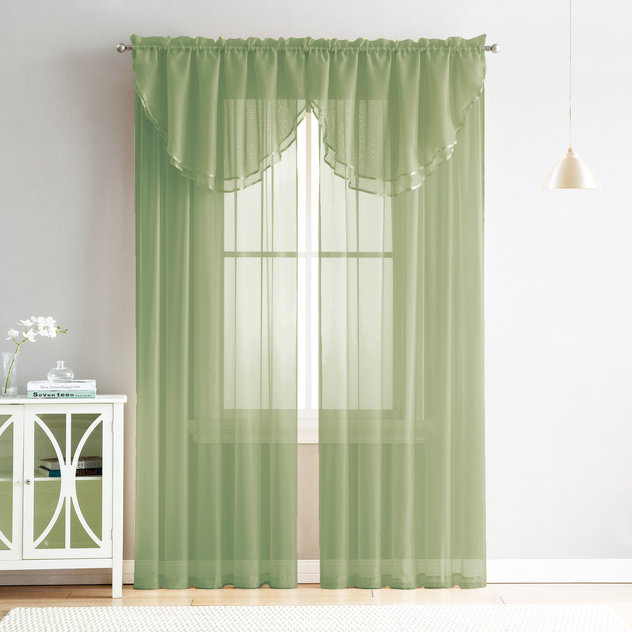 4 Piece Sheer Window Curtain Set For Living Room Dining Room Bay Windows 2 Voile Valance Curtains And 2 Panels 90 In Long Sage Greem