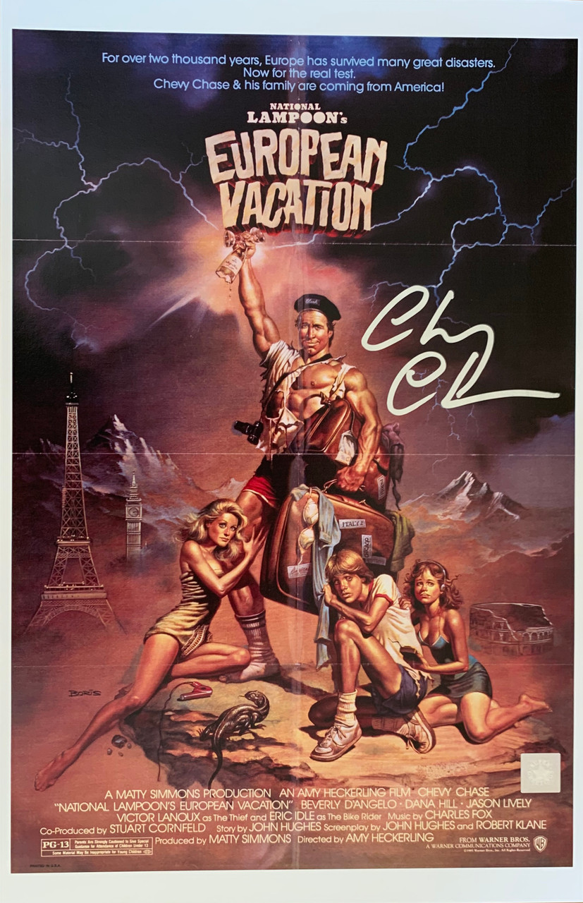 national lampoon european vacation chevy chase autographed movie poster