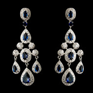 Antique Silver Shire Blue Cz Crystal Wedding Earrings