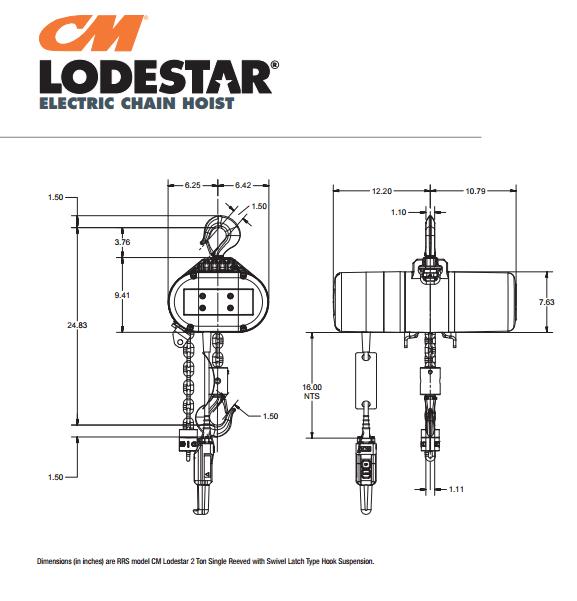 CM Lodestar Single Reeved Hoist | 2 Ton | 10' Lift | 230