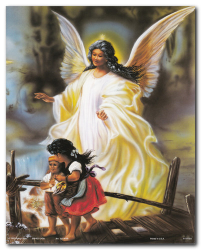 Guardian Angel With Children On Bridge Religious Posters