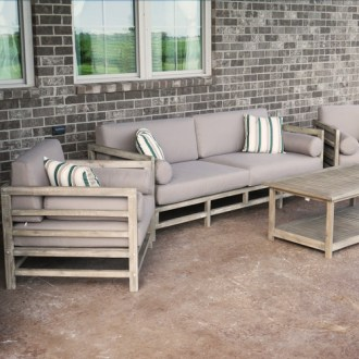 Grand Haven 4 Piece Acacia Wood Outdoor Patio Sofa Set With Table     Grand Haven Outdoor Patio Sofa Set With Table