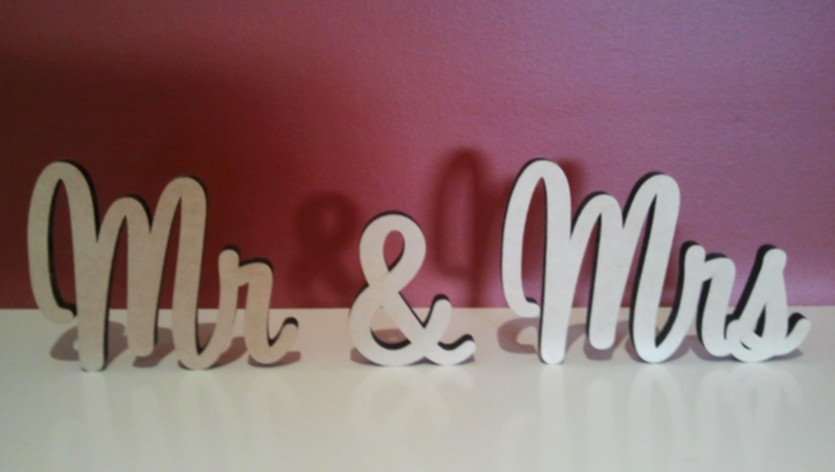 Free Standing MDF Words Mr & Mrs. Available In Height From