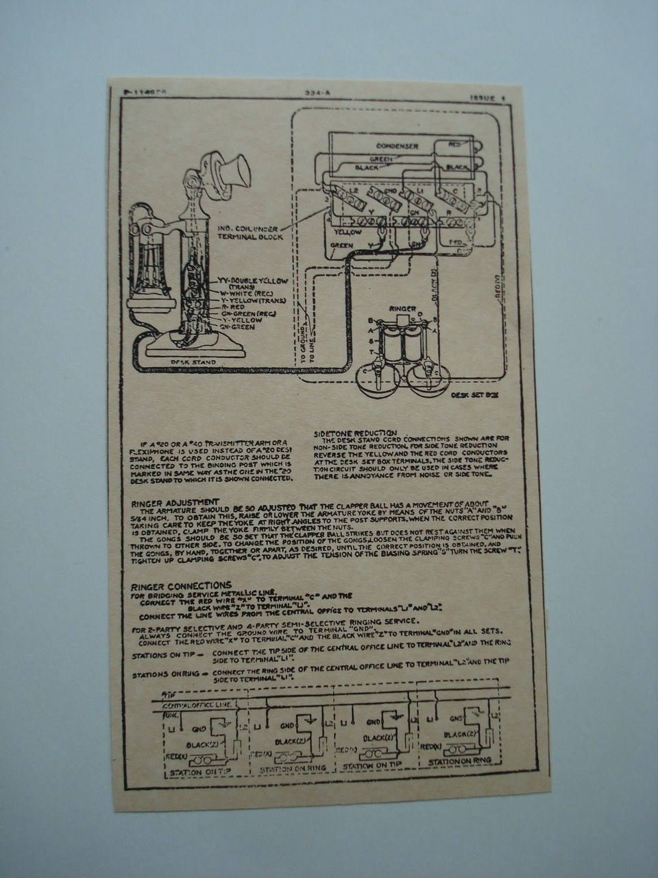 Western Electric 334A ringer subset box wiring diagram glue on | Old Phone Shop