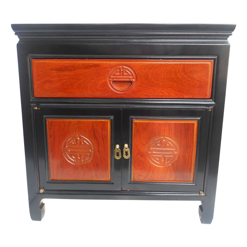 asian two tone end table with long life carving