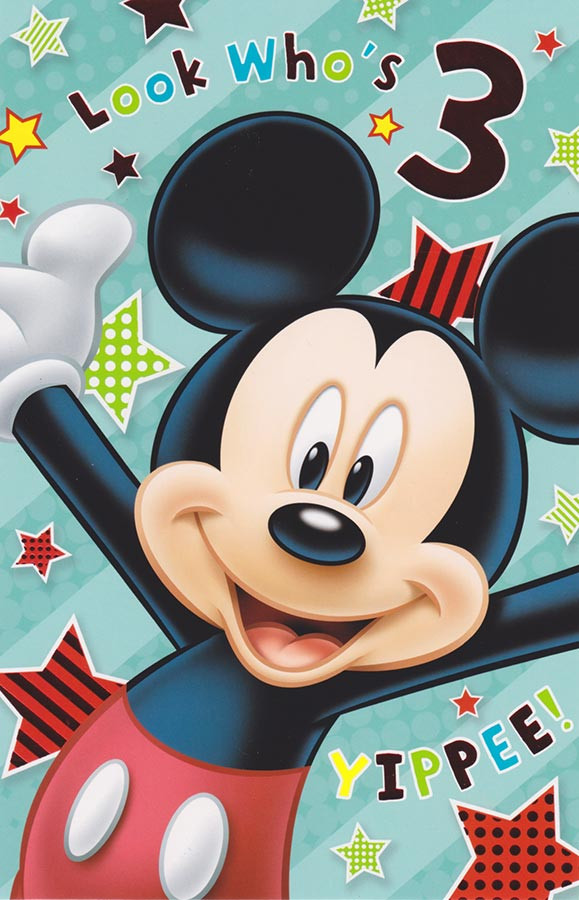 Disney Mickey Mouse Age 3 Birthday Card Foil Cardspark