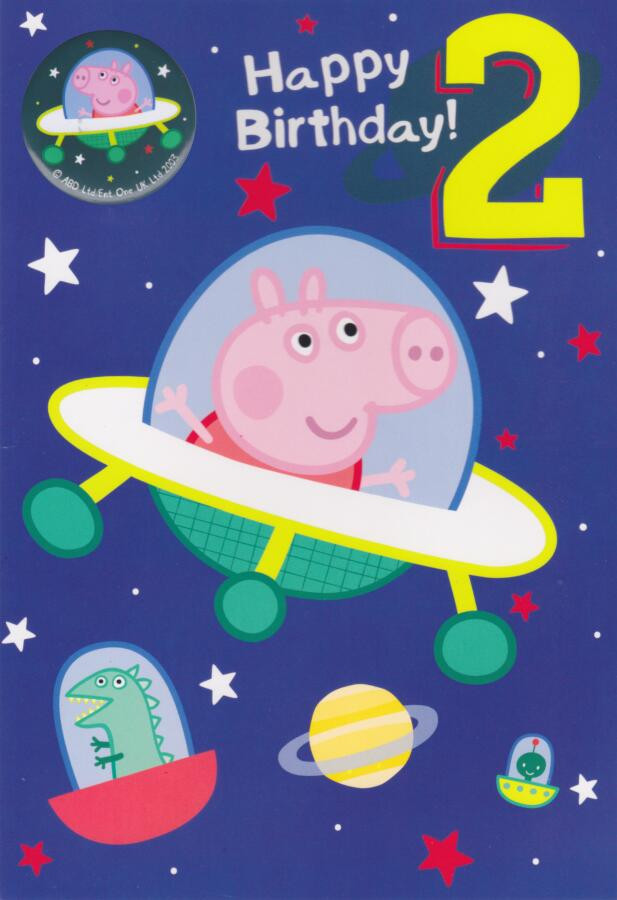 Peppa Pig Happy Birthday Grandson Birthday Card With Badge