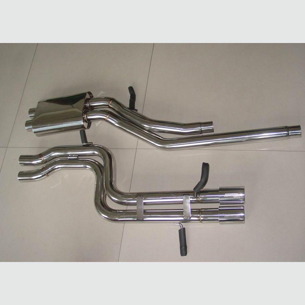 catback exhaust single muffler 3 twin tips for audi s4 b5 00 02 2 7l bi turbo