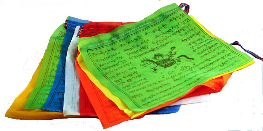 Tibetan Buddhist Neon Lungta, Wind Horse Prayer Flags