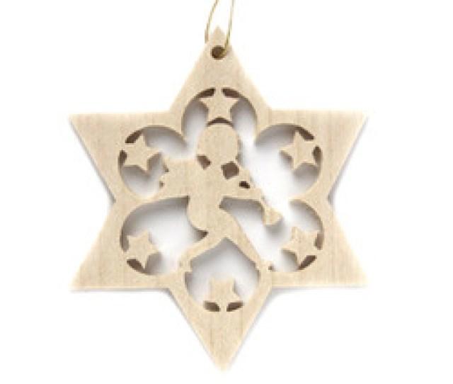 Wooden Angel Star Christmas German Ornament Orrx