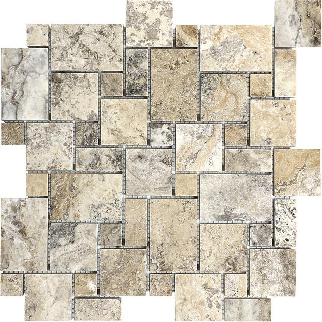 picasso travertine honed mini versailles mosaic tile