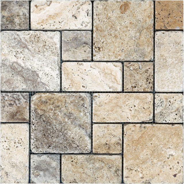 picasso travertine tumbled roman pattern mosaic tile
