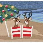 Relaxing Reindeers Coastal Christmas Rug 20 X 30 Indoor Outdoor Rug
