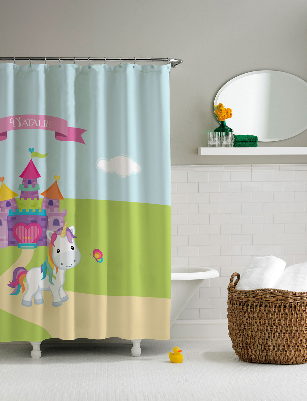 pretty heart castle unicorn shower curtain