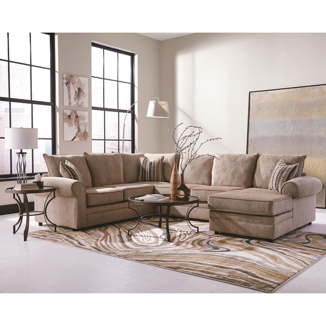 Fairhaven Cream Colored U Shaped Sectional With Chaise