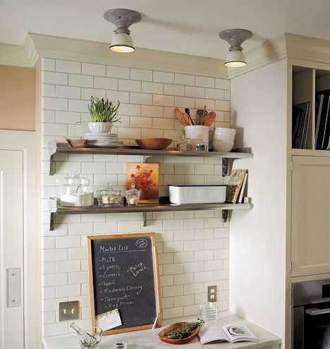 Get creative with what you display on open shelving.