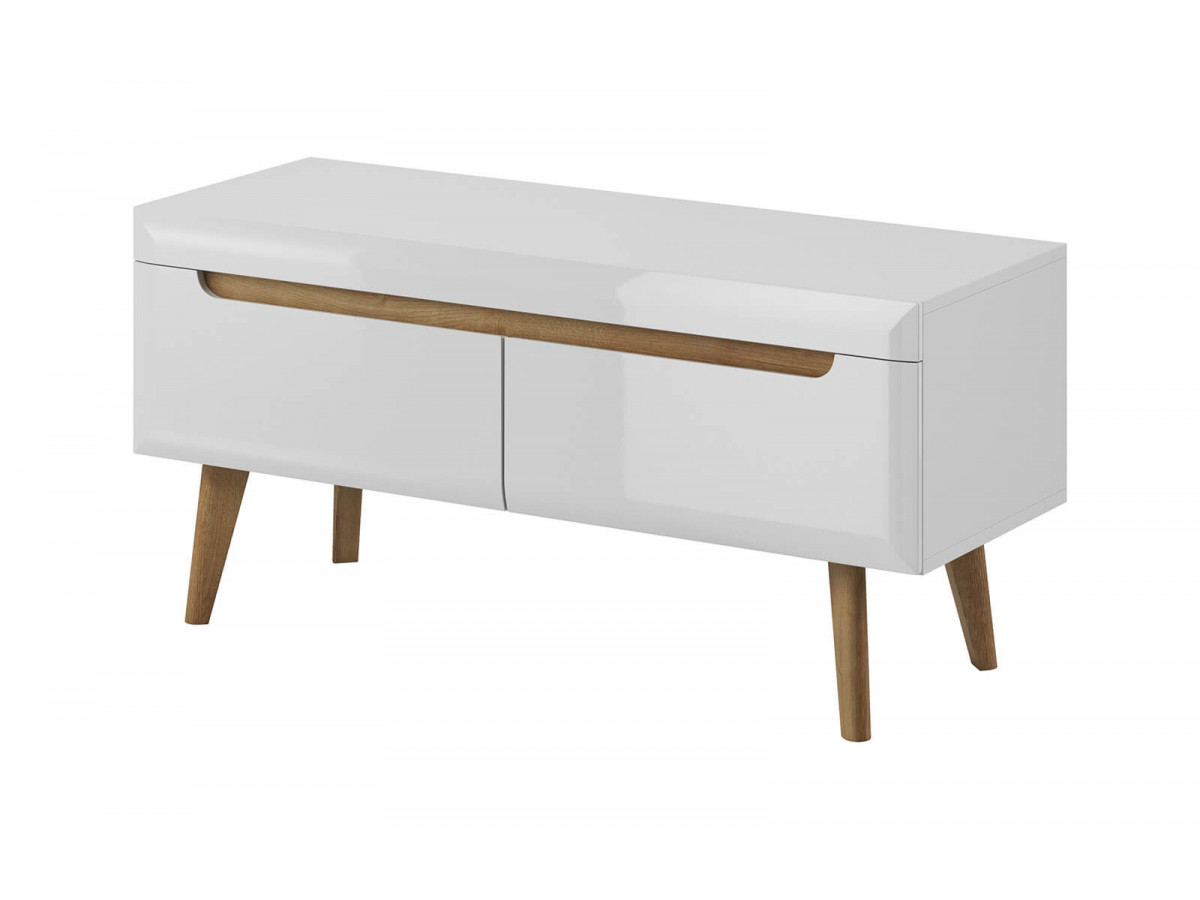 meuble tv 107 cm nordi chene et blanc brillant