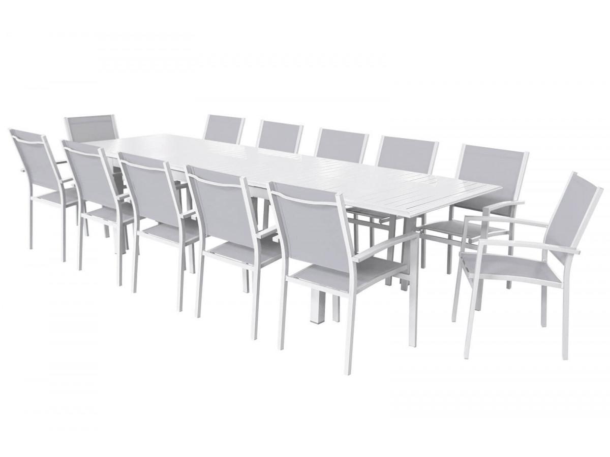 ensemble table extensible avec rallonge papillon 12 fauteuils blanc gris panao