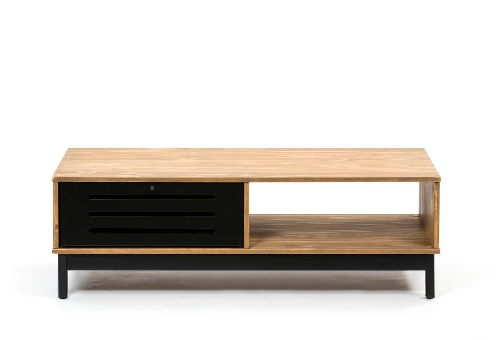 table basse 100 cm austin noir et bois clair