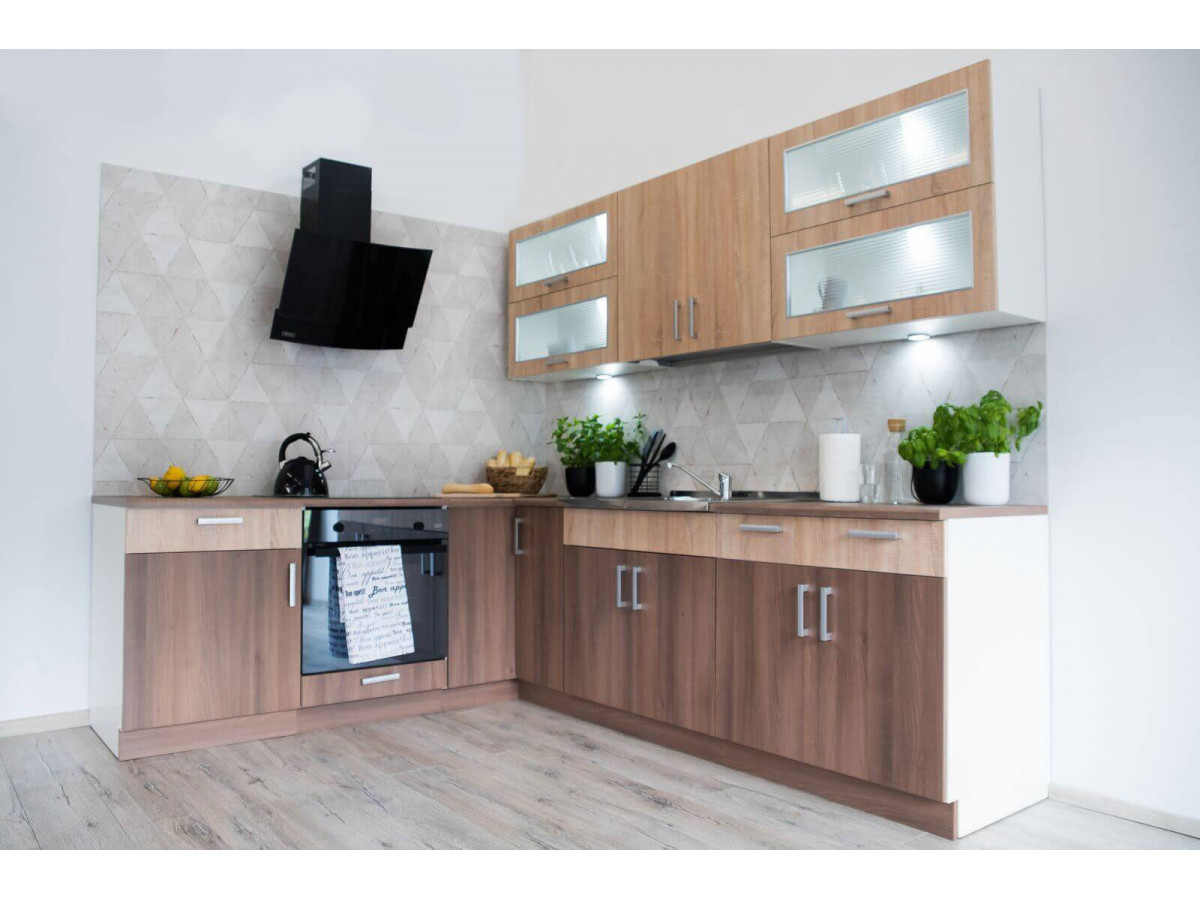 cuisine d angle complete telio 210x250 cm chene sonoma et acacia fonce