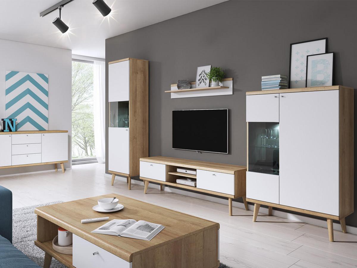 meuble tv 160 cm primino bois et blanc