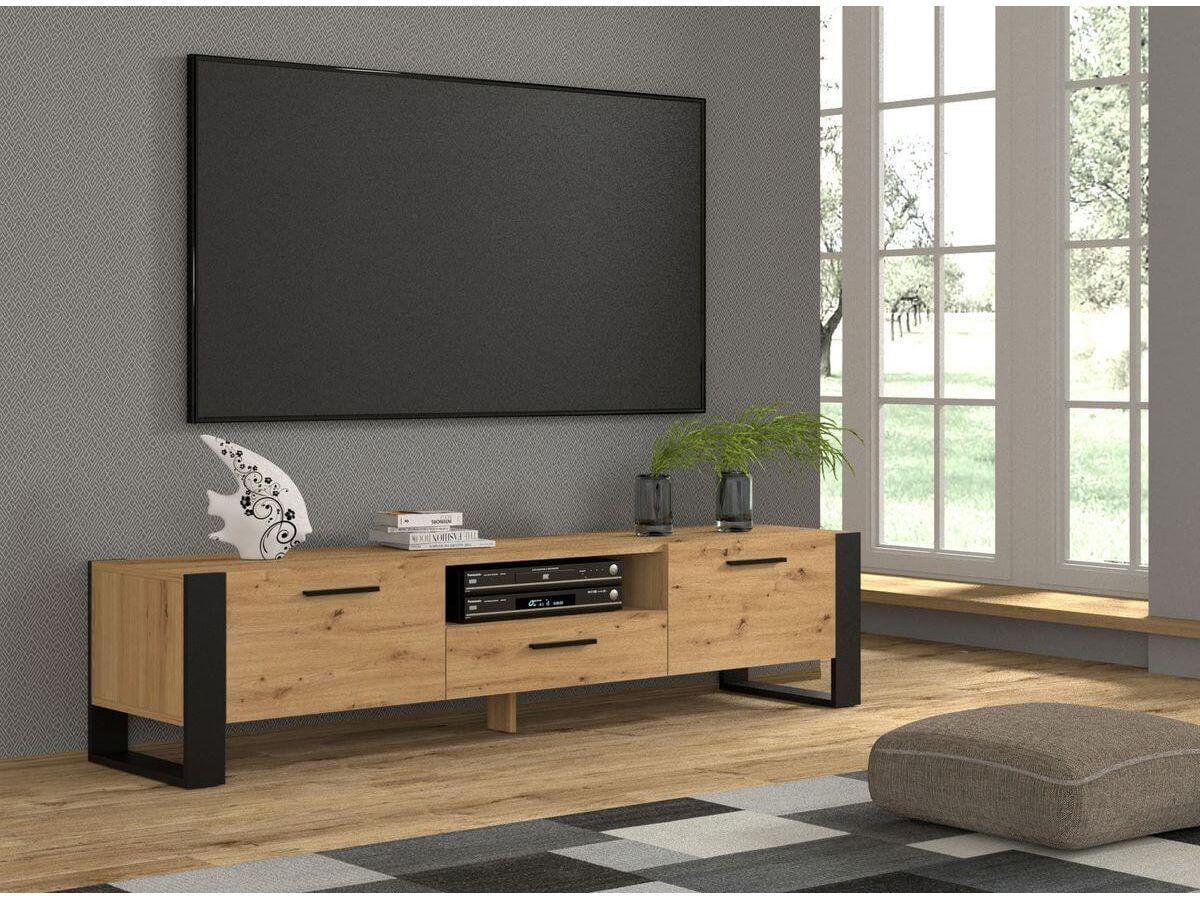 meuble tv 200 cm nuka bois et noir