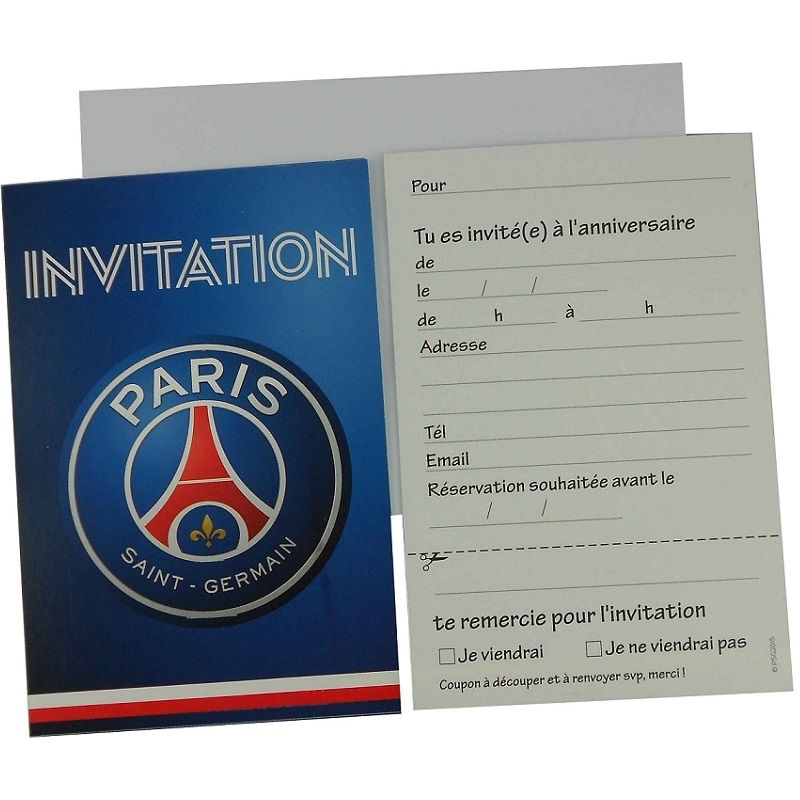 6 cartes d invitation avec enveloppes psg