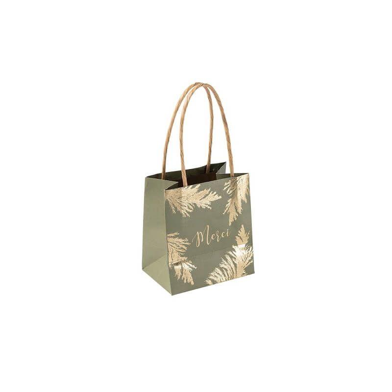 6 sacs cadeaux merci pampa kaki et or