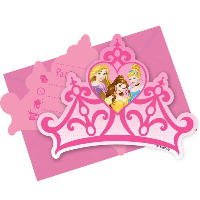 6 cartes d invitations avec enveloppes princesses disney