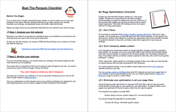 Beat the Penguin Checklist