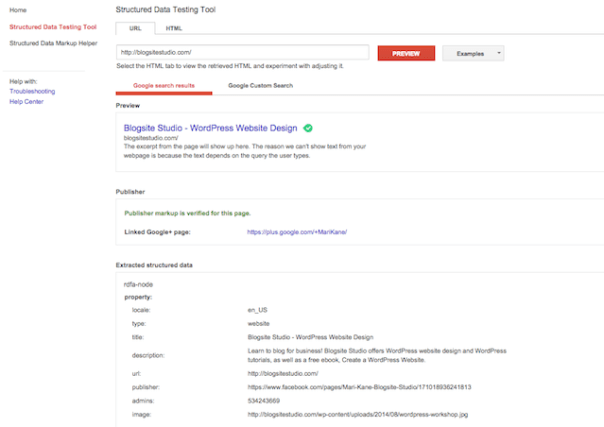 Webmaster tools structured testing tool