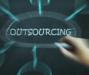 Outsourcing Diagram Means Freelance Workers And Contractors