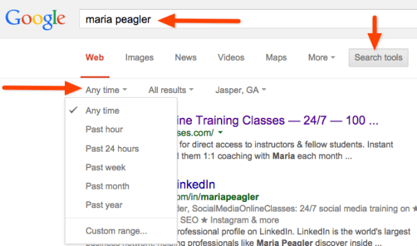 how to refine a google search by date