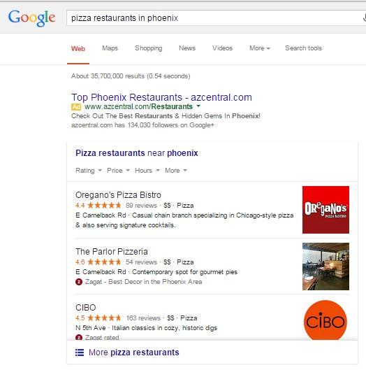 Google Local  3-pack Restaurants