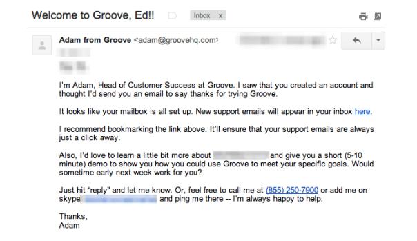 Behavioral onboarding email