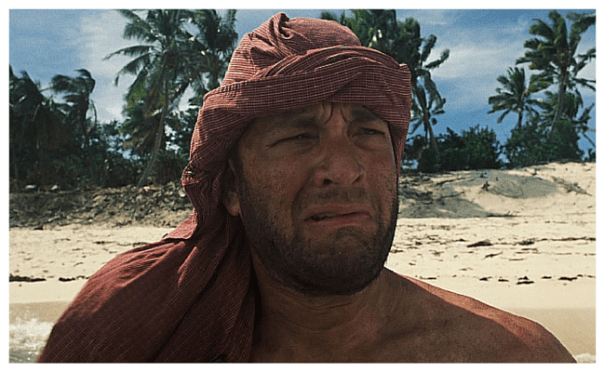'Cast Away' character looking confused.