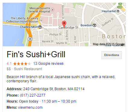 Local business marketing screenshot of Fin's Sushi Google My Business listing