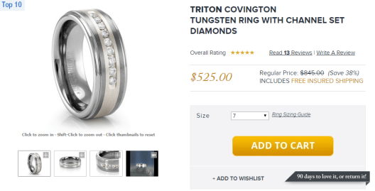 titanium jewelry product page