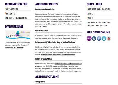 northwestern undergraduate admissions page