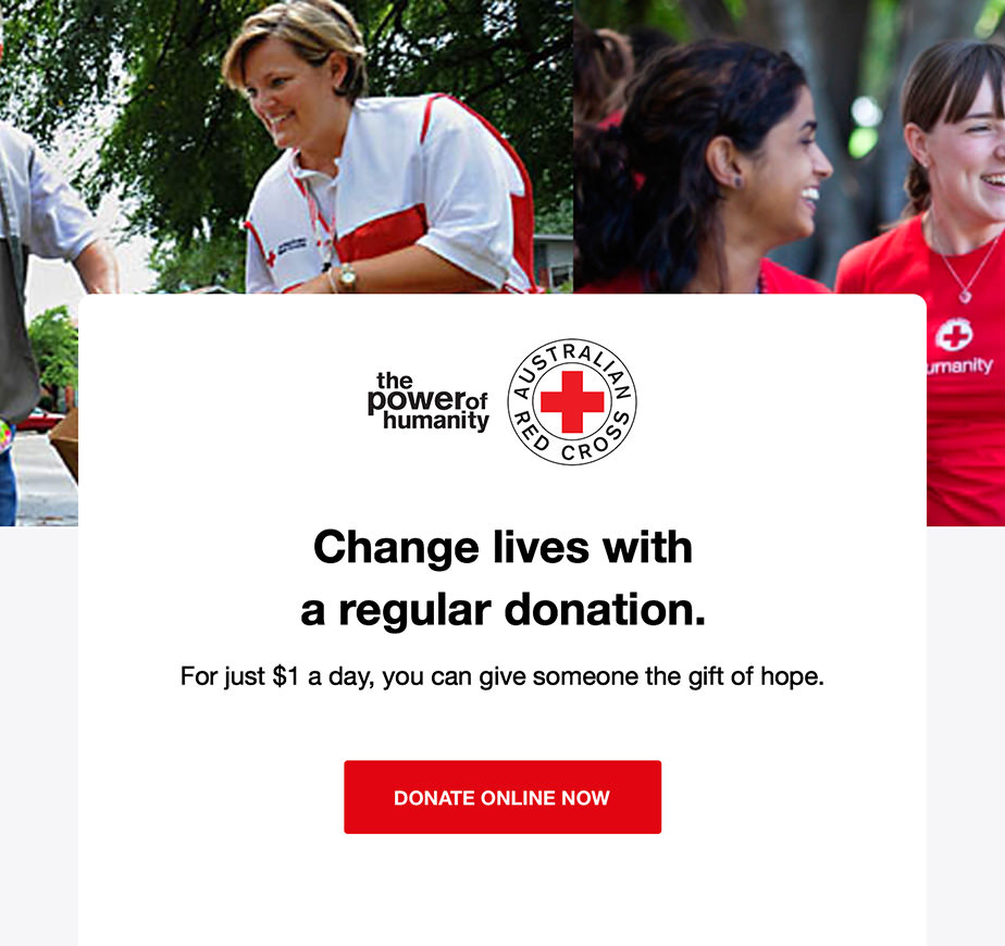 Nonprofit explanation email from RedCross