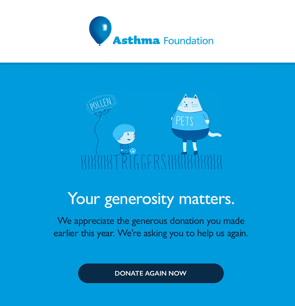 Nonprofit email from Asthma Foundation