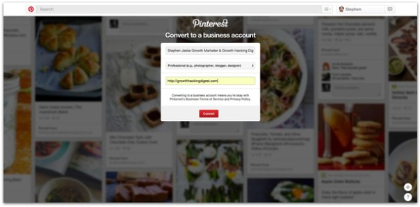 Pinterest convert personal to business