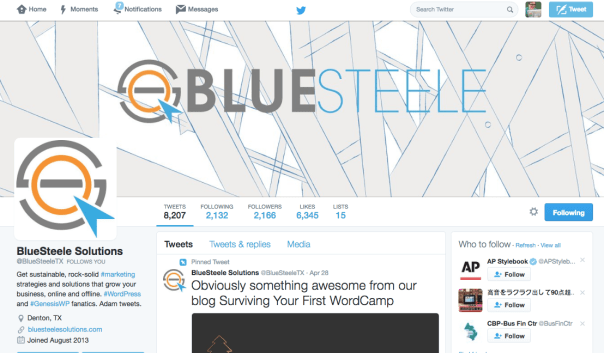 Great business twitter account by Blue Steele Solutions.