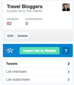 Nimble Twitter List Import Feature