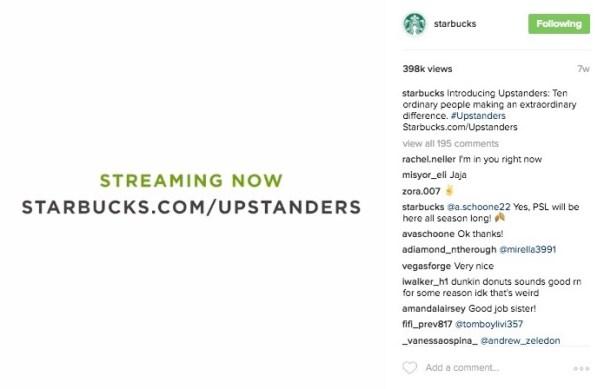 Starbucks Upstanders Instagram Video Link CTA