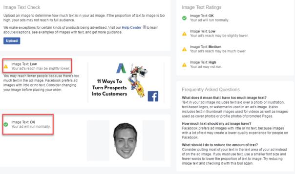 facebook creative image text checker feature