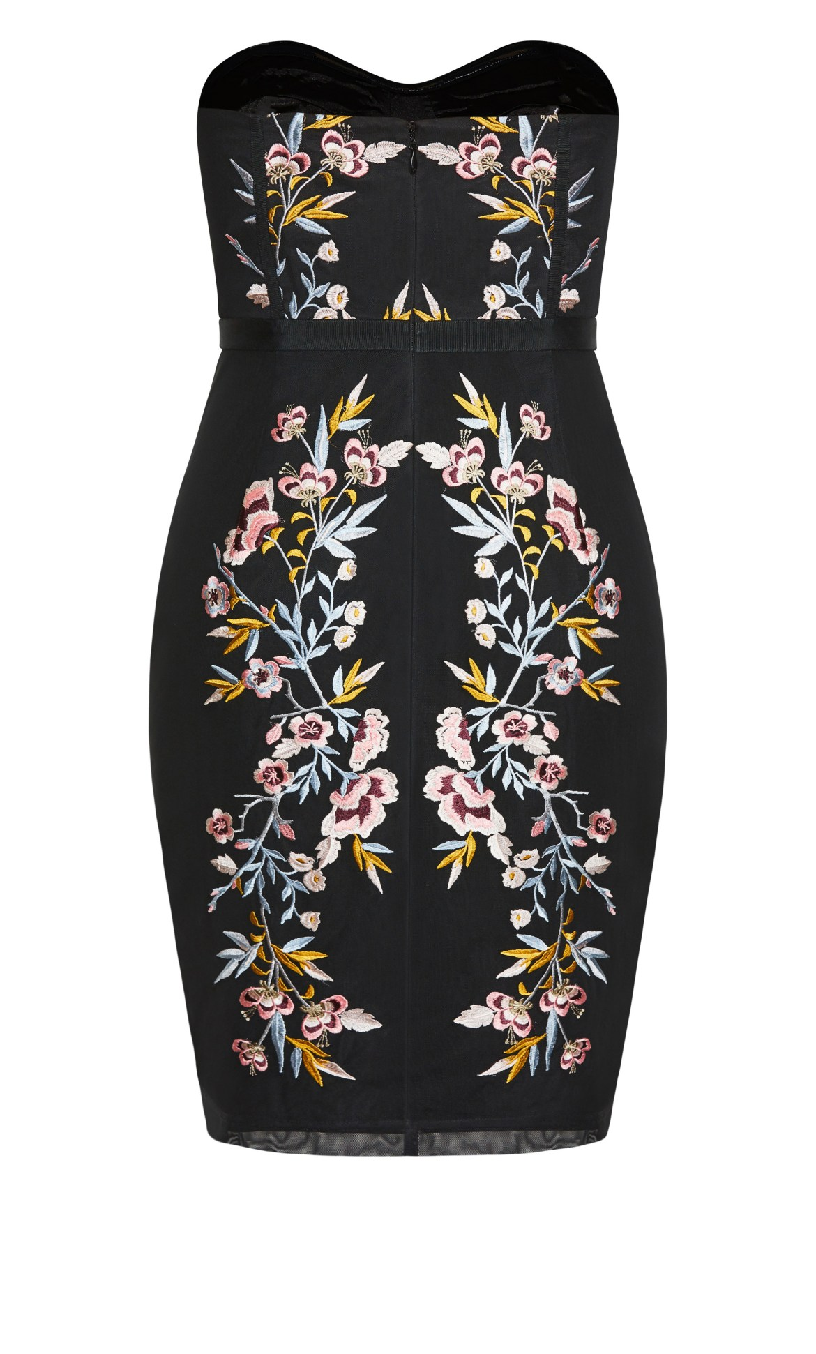 Softly Embroidered Dress - black 12